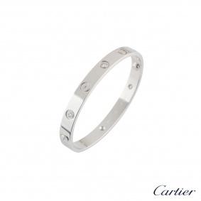 Cartier White Gold Half Diamond Love Bracelet Size 18 B6014018